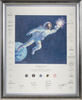"Explorers:Space Exploration, Alan Bean Signed Limited Edition ""Reaching for the Stars"" Textured Canvas Color Print Signed by Twenty-Four Astronauts, #553/1..."