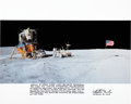 Autographs:Celebrities, Charlie Duke Signed Large Apollo 16 Lunar Surface Panoramic ColorPhoto with Handwritten Mission Summary. ...