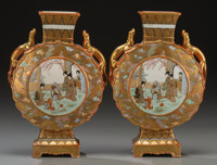 A Pair of Japanese Painted and Partial Gilt Porcelain Vases, 20th century Marks: (character marks to underside)