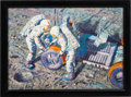 "Explorers:Space Exploration, Alan Bean Signed Limited Edition ""Fender Lovin' Care"" Giclée Canvas, #58/125, in Framed Display. ..."