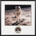 """Autographs:Celebrities, Buzz Aldrin Signed Large Apollo 11 Lunar Surface """"Visor"""" Color Photo in Framed Display with Mission Insignia Patch...."""