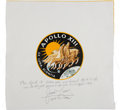 Explorers:Space Exploration, Apollo 13 Flown Beta Cloth Mission Insignia Directly from thePersonal Collection of Mission Commander James Lovell, Signed an...