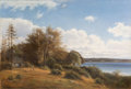 Fine Art - Painting, European:Antique  (Pre 1900), Harald Trolle (Danish, 1834-1882). Cottage by a Lake, 1873.Oil on canvas. 31-1/4 x 46-1/4 inches (79.4 x 117.5 cm). Sig...