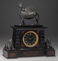Timepieces:Clocks, A French Patinated Bronze and Marble Mantle Clock, France, circa 1875. Marks to clock face: MERMOD JACCARD & CO.. 19-1/2... (Total: 3 Items)