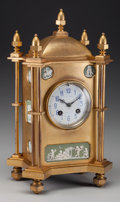 Timepieces:Clocks, A J.W. Benson Gilt Bronze Mantle Clock Inset with Wedgwood Plaques, late 19th century. Marks to clock face: J.W. BENSON, 2... (Total: 3 Items)
