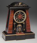 Timepieces:Clocks, An Achille Brocot French Egyptian Revival Patinated Bronze and Marble Mantle Clock, circa 1870. Marks to clock face: BIGEL...