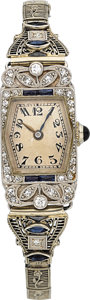 Timepieces:Wristwatch, Patek Philippe Lady's Vintage Platinum Wristwatch, circa 1925. ...