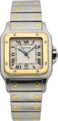 Timepieces:Wristwatch, Cartier Santos Two Tone Gent's Wristwatch. ...