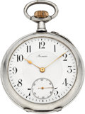 Timepieces:Pocket (post 1900), Armin, Swiss Pocket Watch With One-Minute Tourbillon, circa 1905....