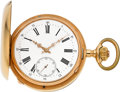 Timepieces:Pocket (pre 1900) , Swiss Very Fine 18k Gold Grande & Petite Sonnerie QuarterRepeating Clock Watch, circa 1885. ...