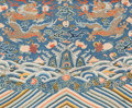 Asian:Chinese, A Framed Chinese Silk Embroidery with Five-Clawed Dragon and BatMotif. 20 h x 24 w inches (50.8 x 61.0 cm) (sight). ...