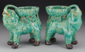 Asian:Chinese, A Pair of Chinese Majolica Elephant Planters, early 20th century.7-3/4 h x 7 w inches (19.7 x 17.8 cm). ... (Total: 2 Items)