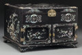 Asian:Chinese, A Chinese Hardwood and Mother-of-Pearl Lacquered Cabinet. 10-3/4 hx 15-5/8 w x 12-3/4 d inches (27.3 x 39.7 x 32.4 cm). ...