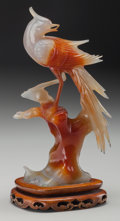 Asian:Chinese, A Chinese Carved Red and White Chalcedony Bird on Stand, 20thcentury. 8-7/8 inches high (22.5 cm) (figure on stand). GIA Re...
