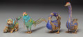Asian:Chinese, Four Chinese Gilt Silver and Enamel Animal Figures, 20th century.Marks: SILVER. 5-1/4 inches high (13.3 cm) (tallest). ...(Total: 4 Items)