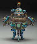 Asian:Chinese, A Chinese Silver, Turquoise, Jade and Enamel Censer, 20th century.Marks: SILVER. 7-1/4 inches high (18.4 cm). ...