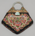 Asian:Chinese, A Chinese Jadeite, Gilt Bronze, and Needlepoint Purse, 20thcentury. 10-1/2 inches high x 9 inches wide (26.7 x 22.9 cm). ...