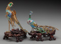 Asian:Chinese, Two Chinese Gilt Metal and Enameled Peacocks on Stands, 20thcentury. Marks: (manufacturer sticker to undersides). 7-3/4 inc...(Total: 2 Items)