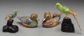 Asian:Chinese, Four Chinese Silver, Gilt Metal, and Enamel Figures of Birds, 20thcentury. Marks: lid flanges to two ducks marked SILVER...(Total: 4 Items)