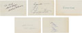 Baseball Collectibles:Others, 1950's Baseball Hall of Famers Signed Index Cards Lot of 5....