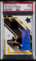 Football Cards:Singles (1970-Now), 2004 Leaf Rookies & Stars Ben Roethlisberger Autograph Jersey Card #277 PSA Mint 9....