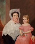 Paintings, American School (19th Century). Portrait of Mother and Daughter. Oil on canvas. 36 x 29 inches (91.4 x 73.7 cm). ...