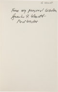 "Explorers:Space Exploration, Guenter Wendt's Personal Copy of Walt Cunningham's ""TheAll-American Boys"" Signed and Certified by Wendt. ..."