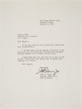 "Autographs:Celebrities, John Glenn Typed Letter Signed Regarding His ""Medical Difficulty""...."