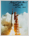 Autographs:Celebrities, Scott Carpenter Signed Color Photo of John Glenn Launch. ...