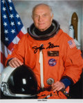 Autographs:Celebrities, John Glenn Orange Spacesuit Signed Color Photo. ...