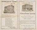 Advertising:Paper Items, Denver's American House and Inter-Ocean Hotels Pamphlet. Denver: Merchant Publishing Co.,1883....