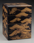 Asian:Japanese, A Japanese Lacquered Four-Tier Jubako (Food Container) withStork and Fir Tree Motif, Meiji Period. 12-1/2 h x 9...