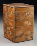 Asian:Japanese, A Japanese Lacquered Five-Tier Jubako (Food Container) withChrysanthemum and Stream Motif, Meiji Period. 9-3/4 ...
