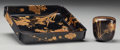 Asian:Japanese, A Japanese Lacquered Tray and Covered Cup, 20th century. 3 incheshigh (cup) x 8 inches wide (tray) (7.6 x 20.3 cm). Prove... (Total:3 Items)