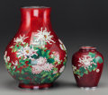 Asian:Japanese, Two Ando Shippo Cloisonné Co. Japanese Cloisonné Vases:Chrysanthemums, circa 1900. 12-1/2 inches high (31.8 cm)...(Total: 2 Items)