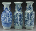 Asian:Chinese, Three Chinese Blue and White Porcelain Vases,. 23 inches high (58.4cm). PROPERTY FROM THE ESTATE OF JULES HERLONG. ... (Total: 3Items)