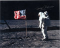 Autographs:Celebrities, Buzz Aldrin Signed Large Lunar Surface Color Photo, Originally fromHis Personal Collection. ...