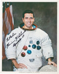 Autographs:Celebrities, Harrison Schmitt Signed White Spacesuit Color Photo....