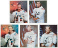 Autographs:Celebrities, Apollo and Shuttle Astronaut Signed White Spacesuit Color Photos:Lovell, Haise, Slayton, Henize, and Peterson. ... (Total: 5 Items)