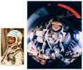 Autographs:Celebrities, John Glenn Signed Color Photo and Postcard, Both from Mercury-Atlas6, (Friendship 7).... (Total: 2 Items)