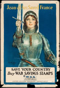 "Movie Posters:War, World War I Propaganda (United States Treasury Department, 1918).Propaganda Poster (20"" X 30"") ""Joan of Arc Saved France."" ..."