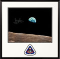 "Autographs:Celebrities, James Lovell Signed Large Apollo 8 ""Earthrise"" Color Photo inFramed Display with Mission Insignia Patch. ..."