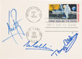 "Explorers:Space Exploration, Apollo 11 Crew-Signed ""First Man on the Moon"" First Day Postcardwith Steve Zarelli LOA. ..."