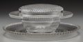 Art Glass:Lalique, An R. Lalique Clear Glass Nippon Covered Caviar Server and Plate, circa 1933. Marks to both: R. LALIQUE, FRANC... (Total: 3 Items)