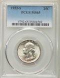 Washington Quarters, 1932-S 25C MS65 PCGS. PCGS Population (149/4). NGC Census: (72/6).Mintage: 408,000. CDN Wsl. Price for problem free NGC/PC...