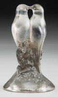 Art Glass:Lalique, An R. Lalique Clear Glass Deux Tourterelles Paperweight withGray Patina, circa 1925. Marks: R. LALIQUE, FRANC...