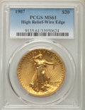High Relief Double Eagles, 1907 $20 High Relief, Wire Rim MS61 PCGS. PCGS Population (181/3074). NGC Census: (144/1432). Mintage: 11,250. ...