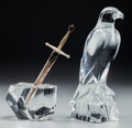 Art Glass:Steuben, A Steuben Silver and 18K Gold Excalibur Letter Opener withGlass Base and Baccarat Glass Eagle Figure, 20th cent... (Total: 2Items)