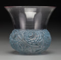 Art Glass:Lalique, An R. Lalique Clear and Frosted Glass Renoncules Vase withBlue Patina, circa 1930. Marks: R. LALIQUE, FRANCE...