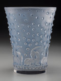 Art Glass:Lalique, An R. Lalique Frosted Glass Ajaccio Vase with Blue Patina,circa 1938. Marks: R. Lalique, France. 7-7/8 inch...